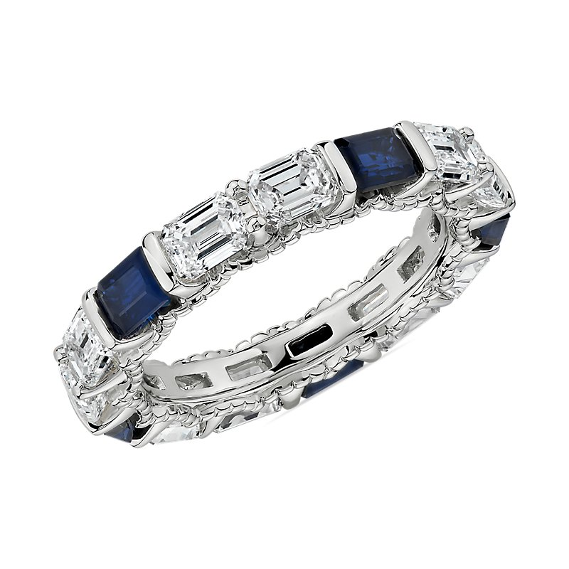 Alternating East-West Emerald Cut Diamond and Sapphire Eternity Ring in 14k White Gold (2 1/2 cttw)