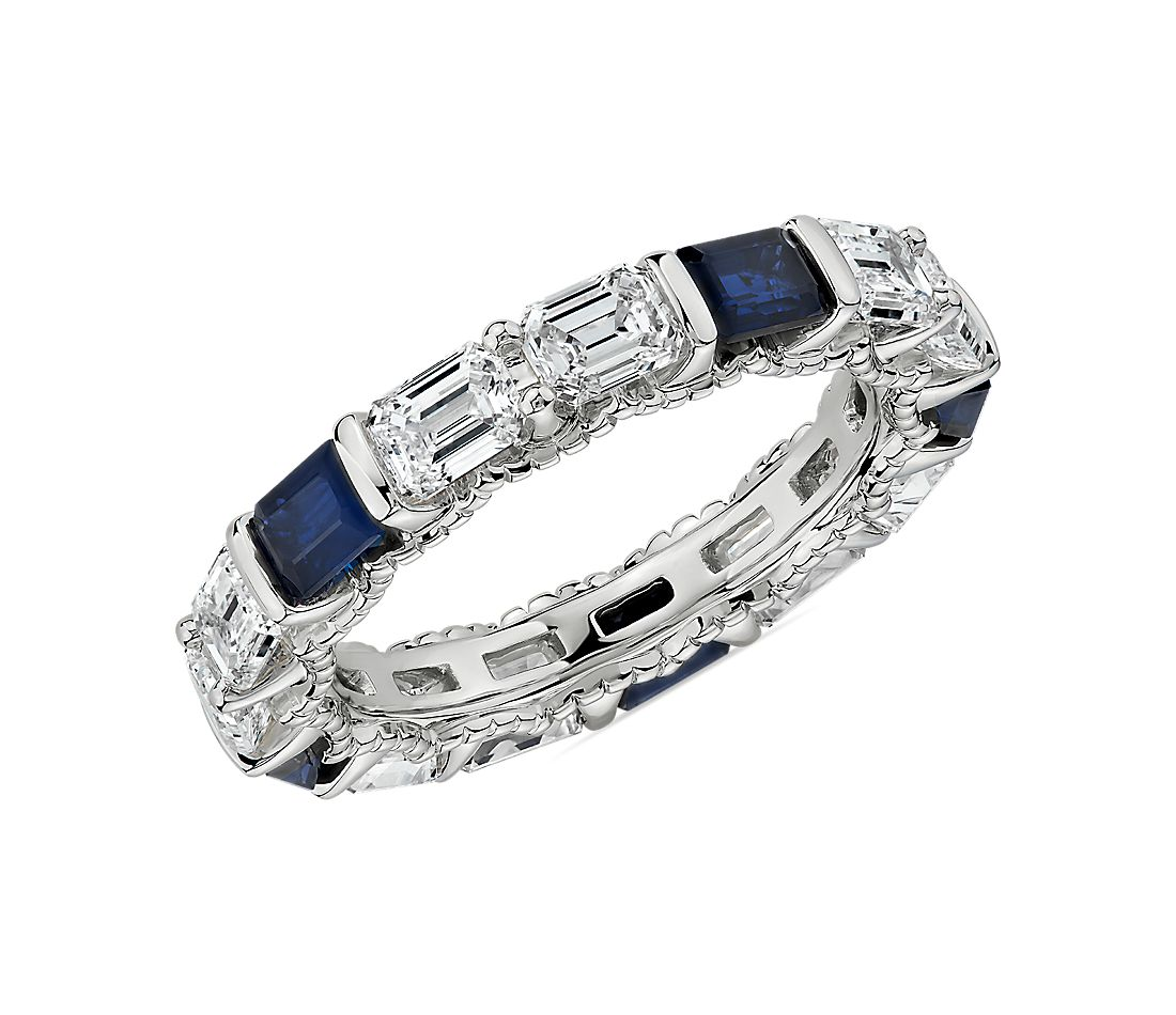 Alternating East-West Emerald Cut Diamond And Sapphire