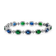 新款 18k 白金 Alternating Emerald and Sapphire Diamond Halo Bracelet