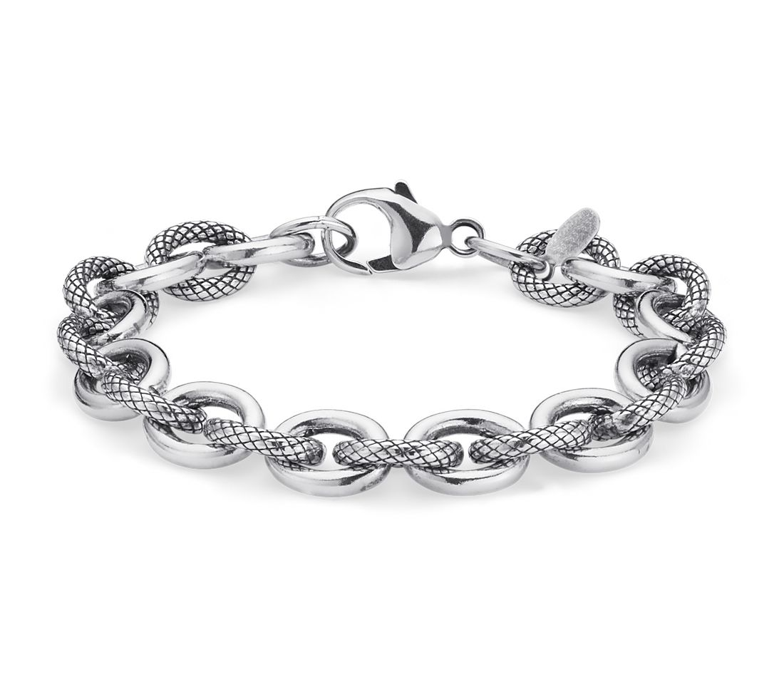 Alternating Link Bracelet in Sterling Silver