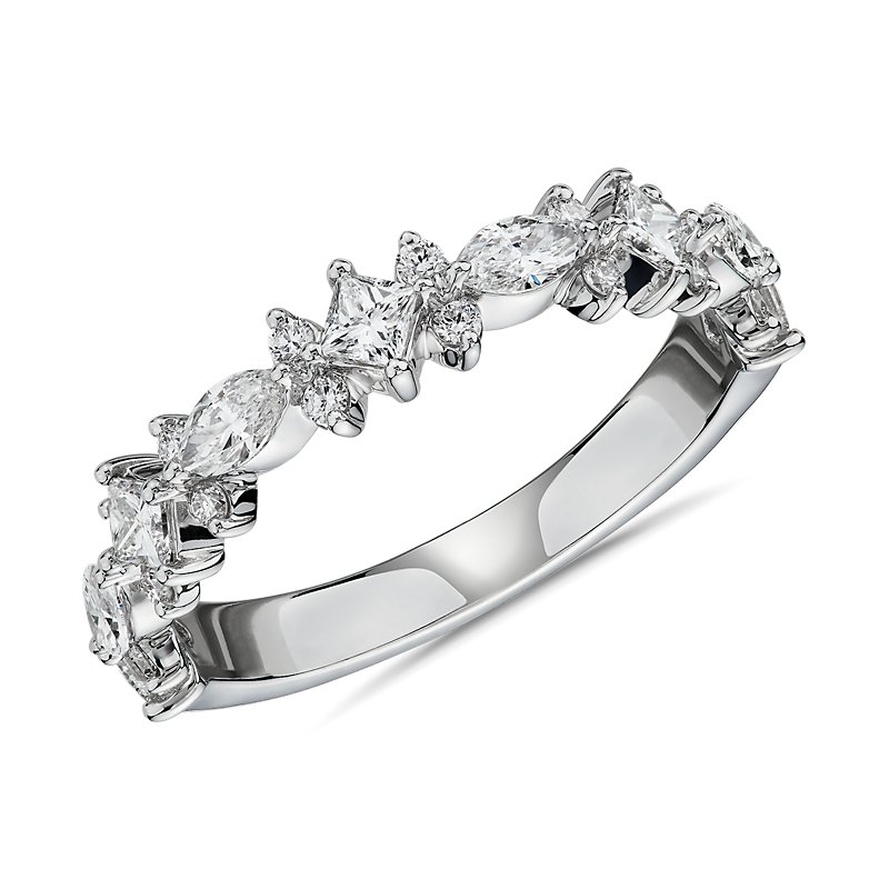 Alternating Mixed Fancy Diamond Wedding Ring in 14k White Gold (3