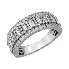 NEW Alternating Baguette Fashion Ring with Diamond Border in 14k White Gold (1 1/2 ct. tw.)