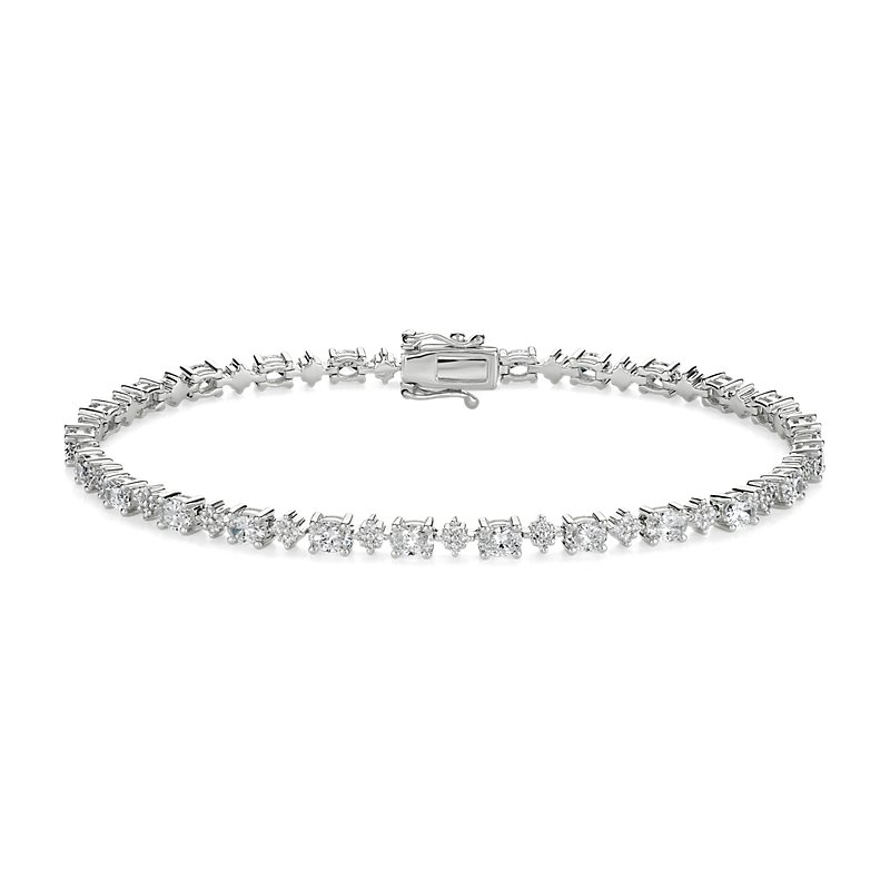 Alternating Oval and Round Cluster Diamond Tennis Bracelet in 14k