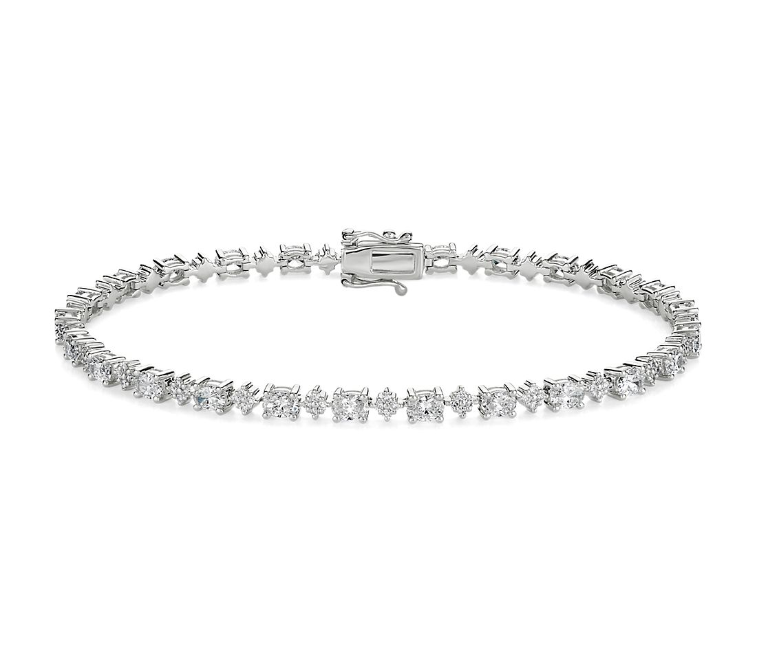 Alternating Oval and Round Cluster Diamond Tennis Bracelet in 14k WG (3 1/2 ct. tw.)