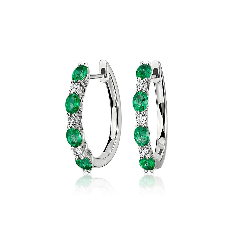 Alternating Oval Emerald and Round Diamond Hoop Earrings in 14k W
