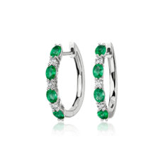 Alternating Oval Emerald and Round Diamond Hoop Earrings in 14k White Gold