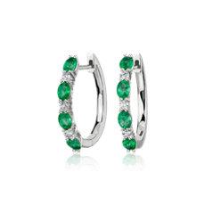 14k 白金橢圓形綠寶石與圓形鑽石相間排列圈形耳環