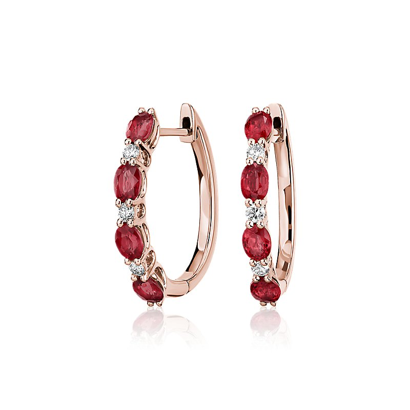 Alternating Oval Ruby and Round Diamond Hoop Earrings in 14k Rose