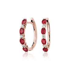 Alternating Oval Ruby and Round Diamond Hoop Earrings in 14k Rose Gold