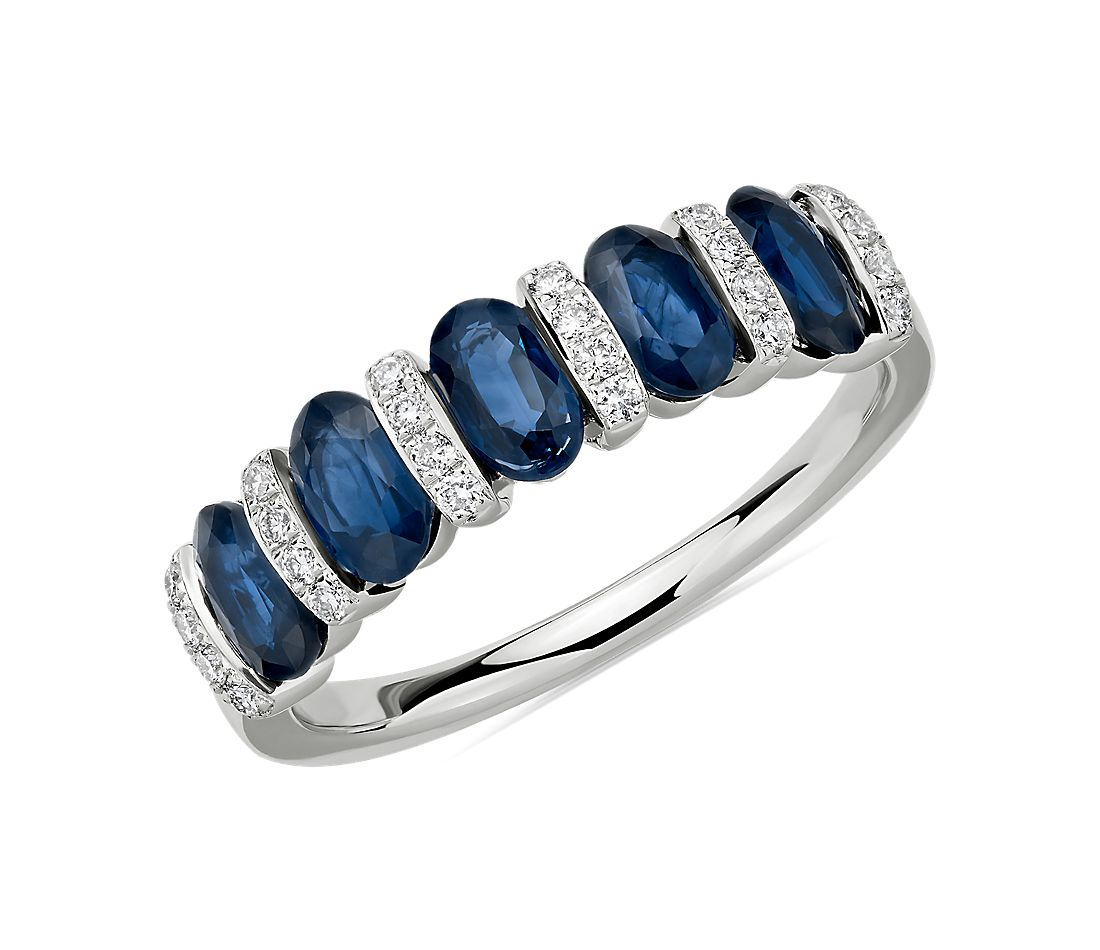 Alternating Oval Sapphire and Diamond Ring in 14k White Gold