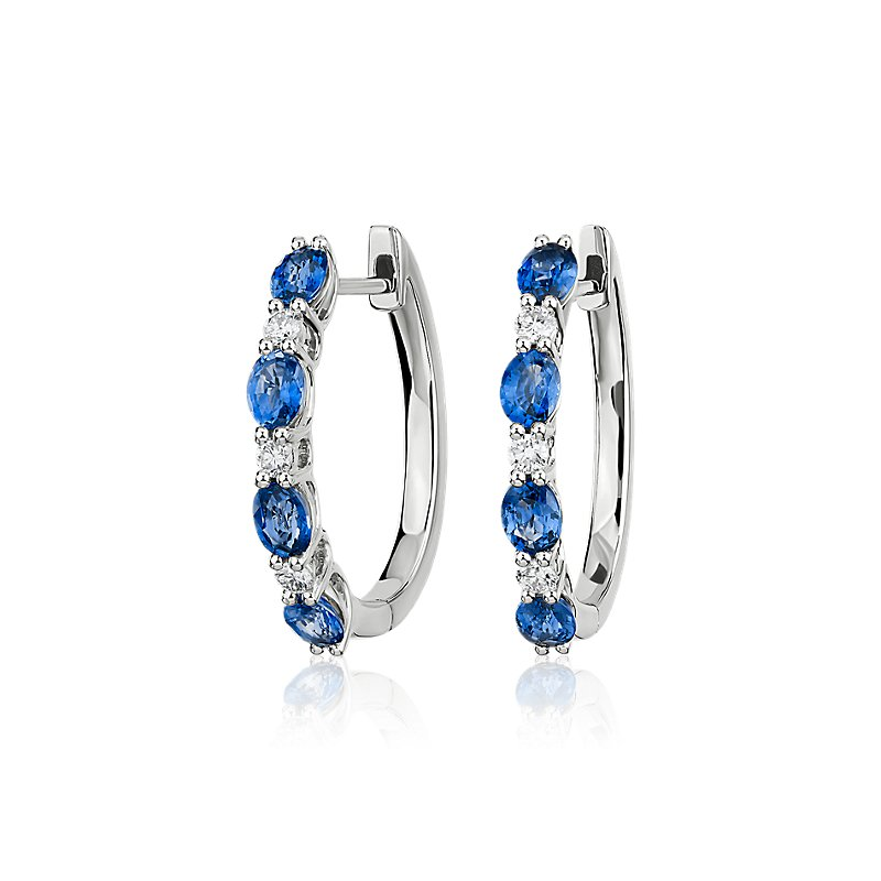 Alternating Oval Sapphire and Round Diamond Hoop Earrings in 14k