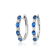 Alternating Oval Sapphire and Round Diamond Hoop Earrings in 14k White Gold