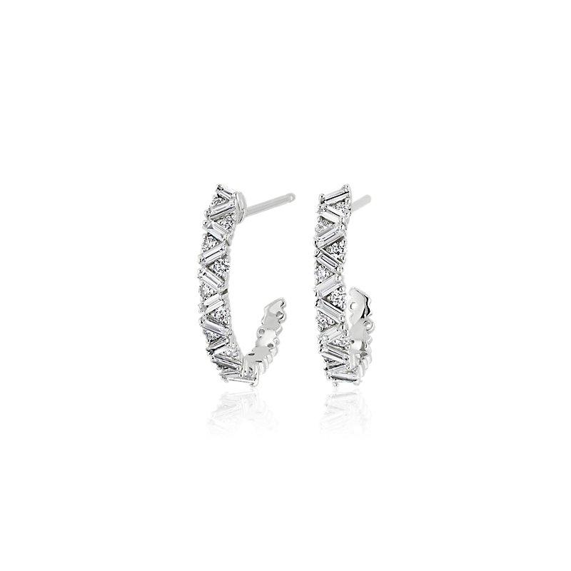 Alternating Round and Baguette Chevron Diamond Hoop Earrings in 1
