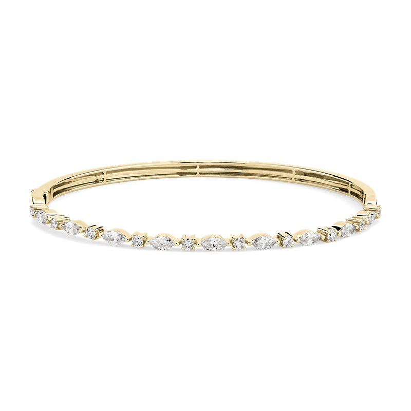 Alternating Round and Marquise Diamond Bangle in 14k Yellow Gold