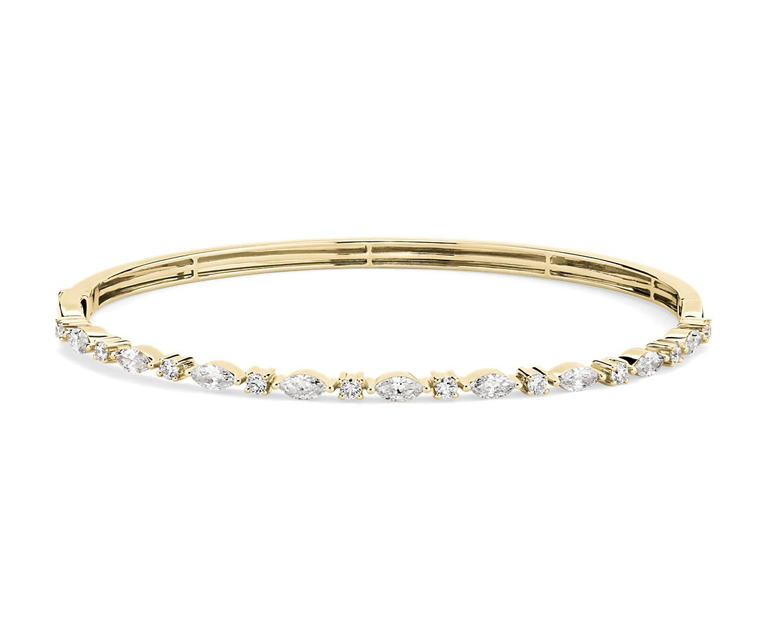 14k 黃金圓形和欖尖形相間排列鑽石手鐲(1 1/4 克拉總重量)