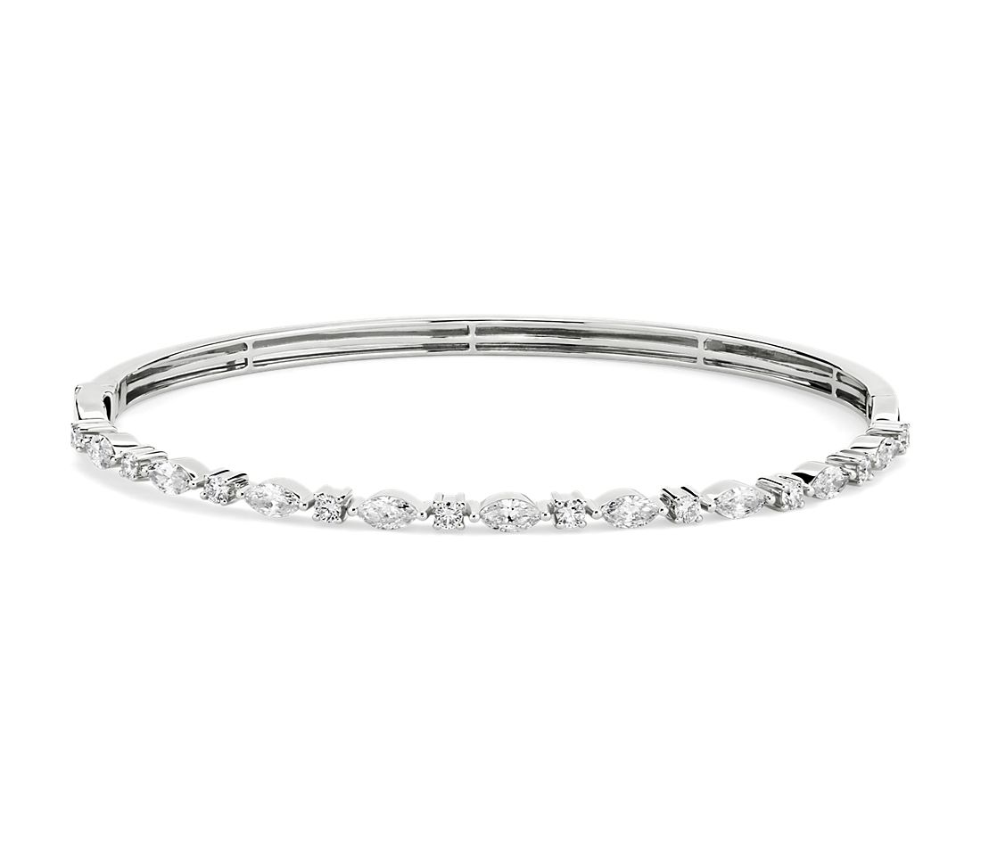 Alternating Round and Marquise Diamond Bangle in 14k White Gold (1.26 ct. tw.)