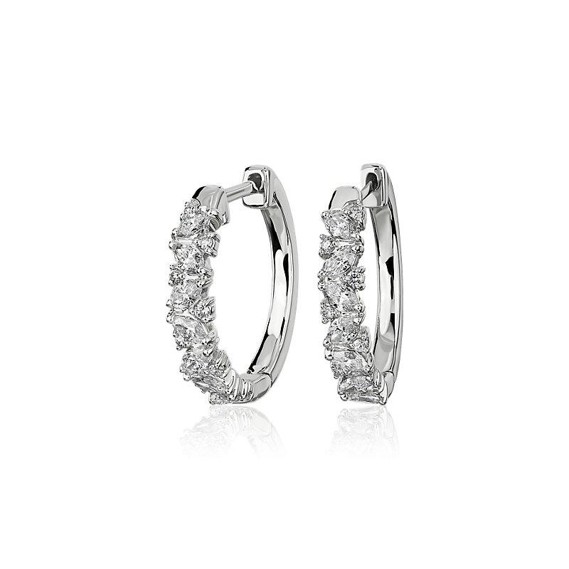 Alternating Round and Marquise Diamond Mini Hoop Earrings in 14k
