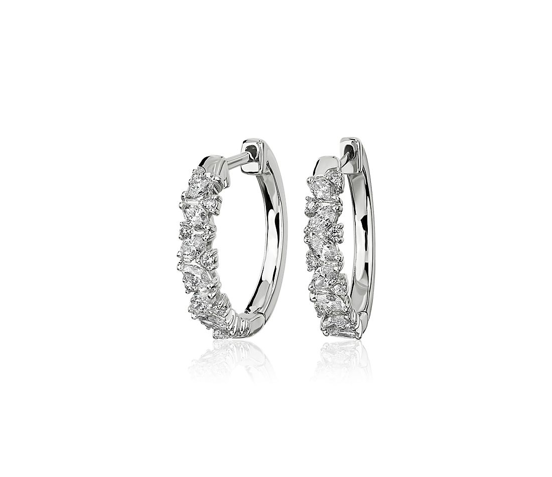 Alternating Round and Marquise Diamond Mini Hoop Earrings in 14k White Gold (3/4 ct. tw.)