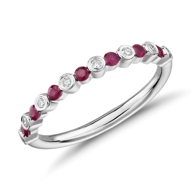 Petite Alternating Ruby and Diamond Stacking Ring in 14k White Go