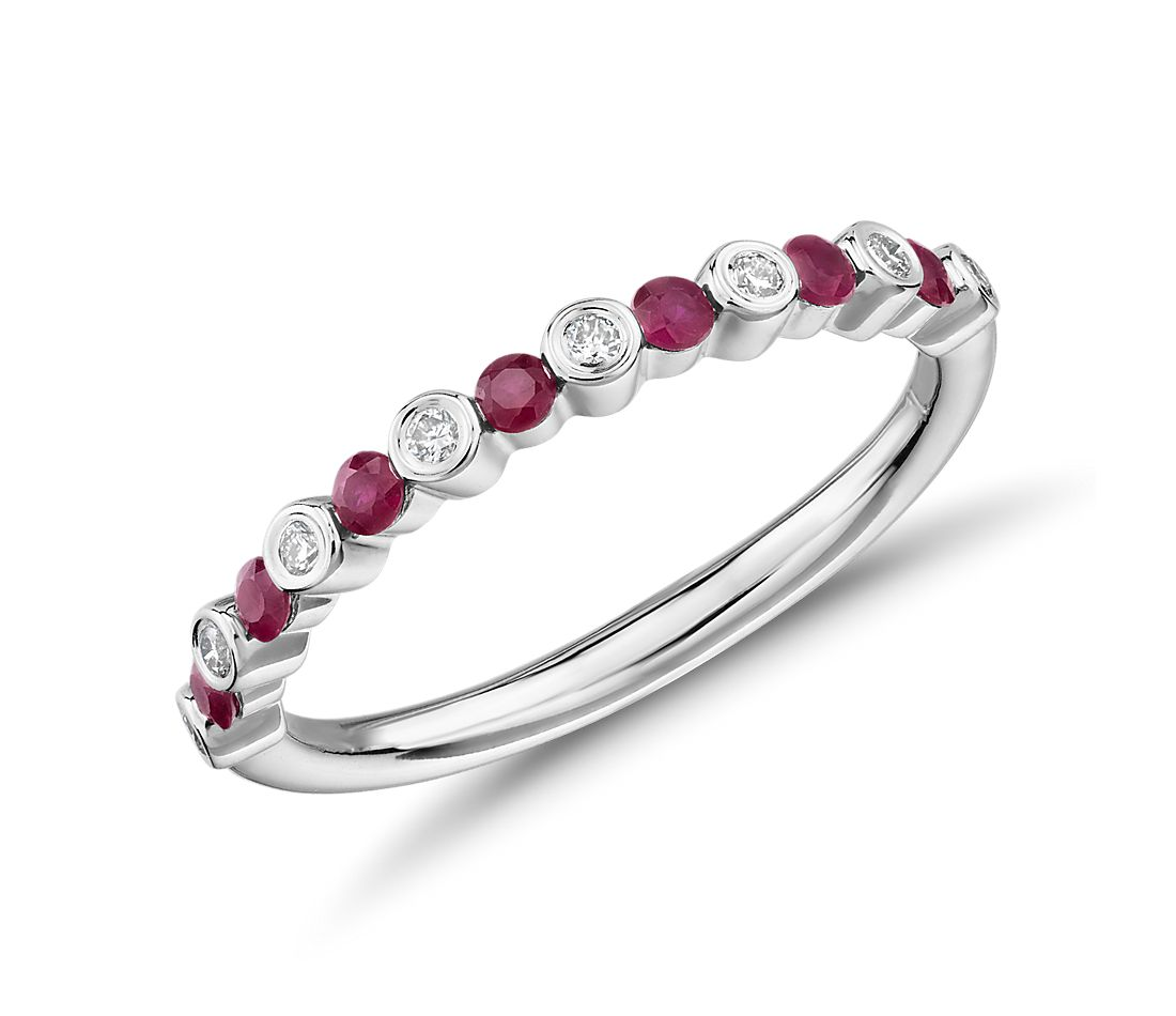 Petite Alternating Ruby and Diamond Stacking Ring in 14k White Gold (1.8mm)