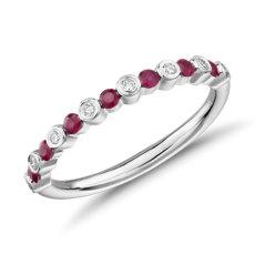 14k 白金小巧相間排列紅寶石與鑽石層疊戒指(1.8毫米)