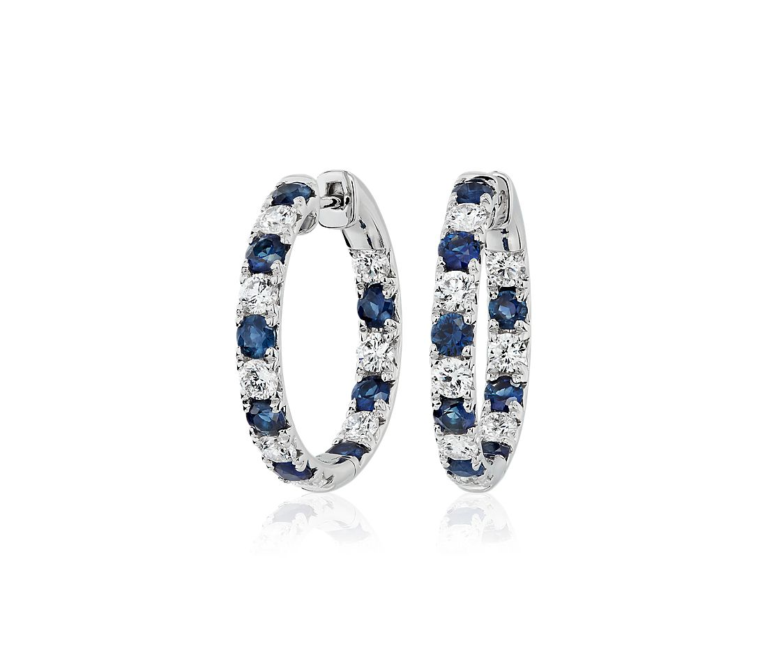 Alternating Sapphire and Diamond French Pave Hoop Earrings in 14k White Gold