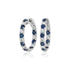NEW Alternating Sapphire and Diamond French Pave Hoop Earrings in 14k White Gold