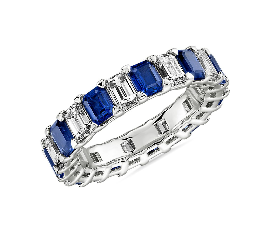 Blue Nile Studio Alternating Sapphire and Diamond Emerald-Cut Eternity Band in Platinum