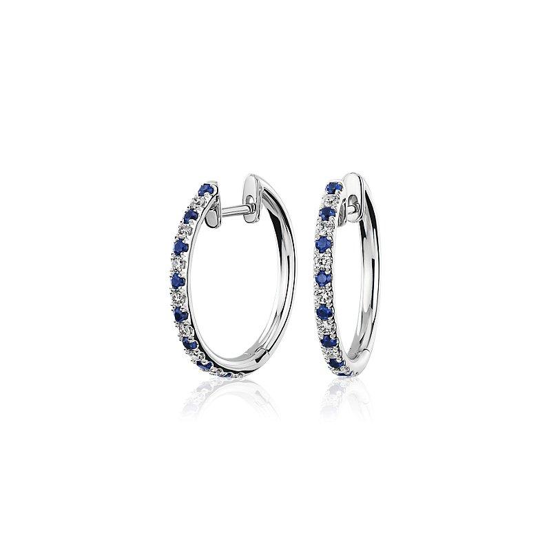 Alternating Sapphire and Diamond Hoop Earrings in 14k White Gold