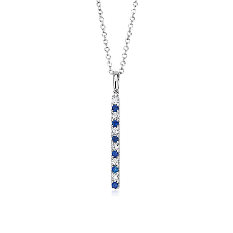 Alternating Sapphire and Diamond Vertical Bar Pendant in 14k White Gold (1.6mm)