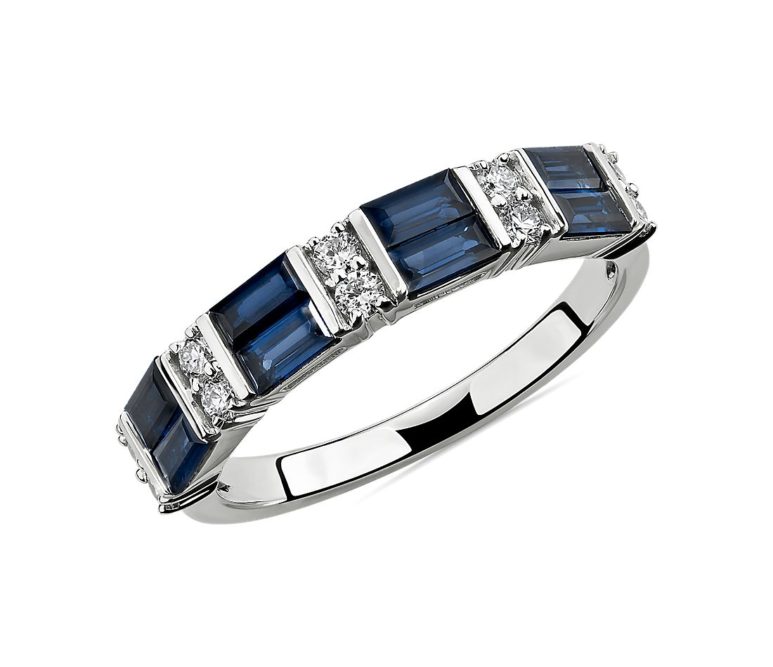 Alternating Sapphire Baguette and Diamond Ring in 14k White Gold