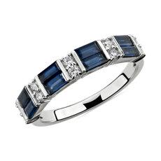 Alternating Sapphire Baguette and Diamond Ring in 14k White Gold