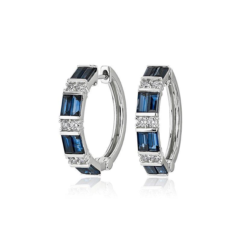 Alternating Sapphire Baguette and Round Diamond Hoop Earrings in