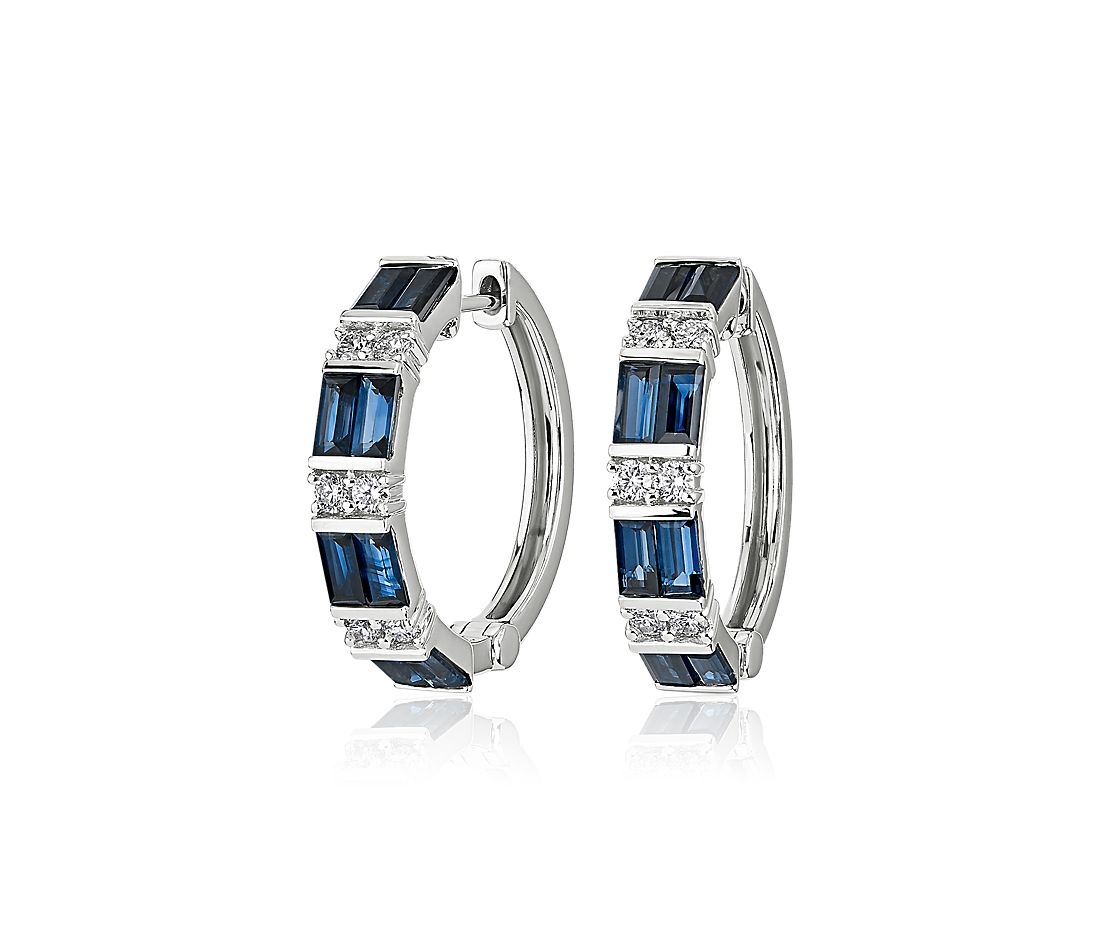 Alternating Sapphire Baguette and Round Diamond Hoop Earrings in 14k White Gold