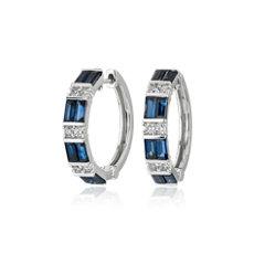 Alternating Sapphire Baguette and Round Diamond Hoop Earrings in 14k White Gold