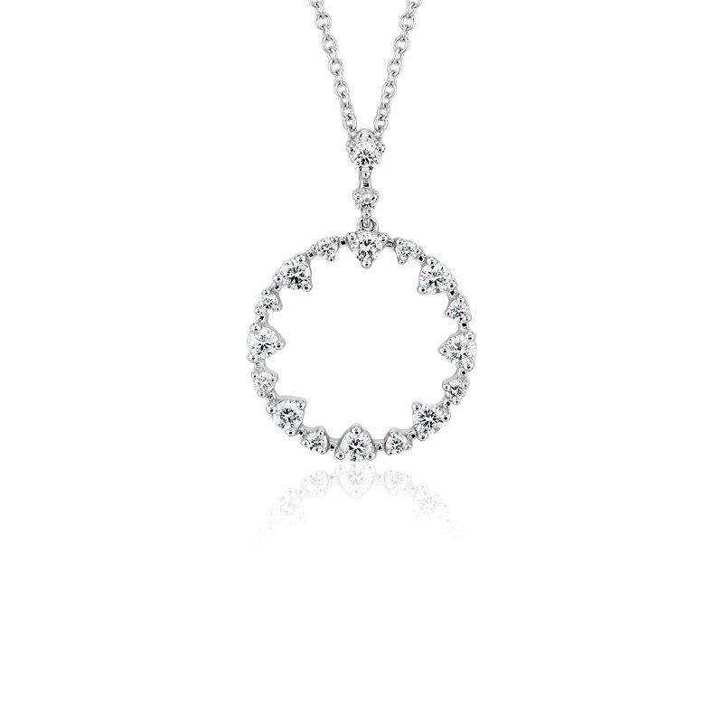 Alternating Size Diamond Circle Pendant in 14k White Gold (1/2 ct