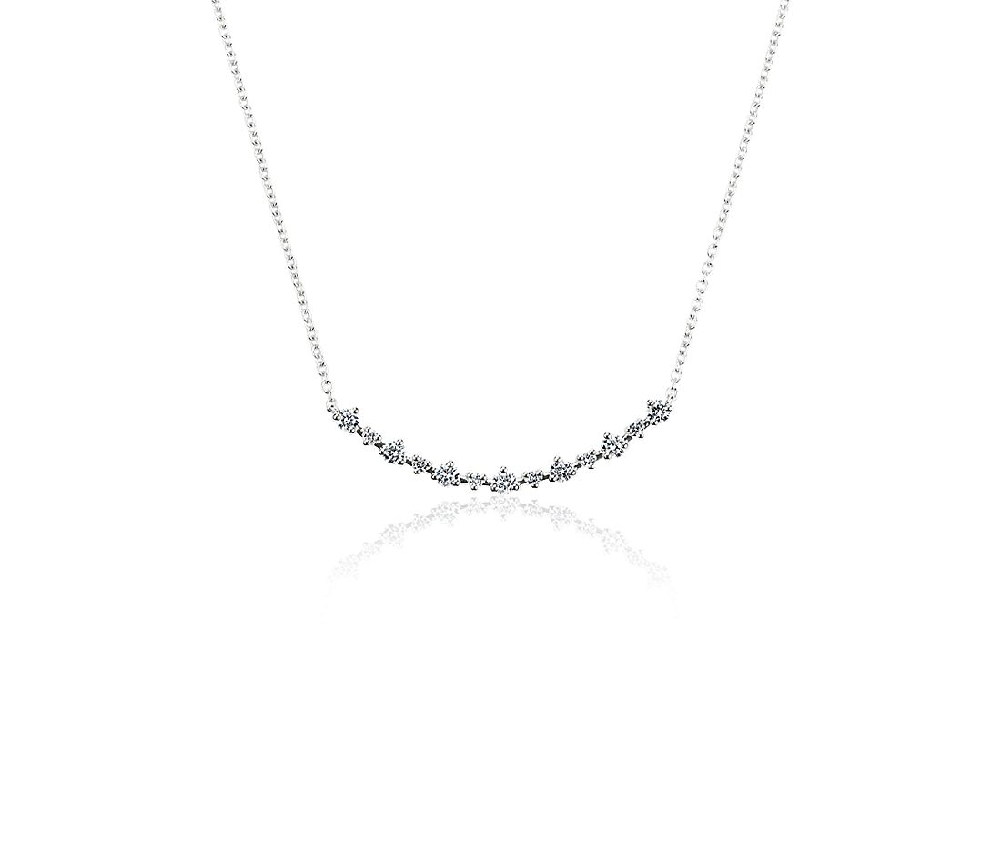 Alternating Size Diamond Curved Bar Necklace in 14k White Gold (0.33 ct. tw.)