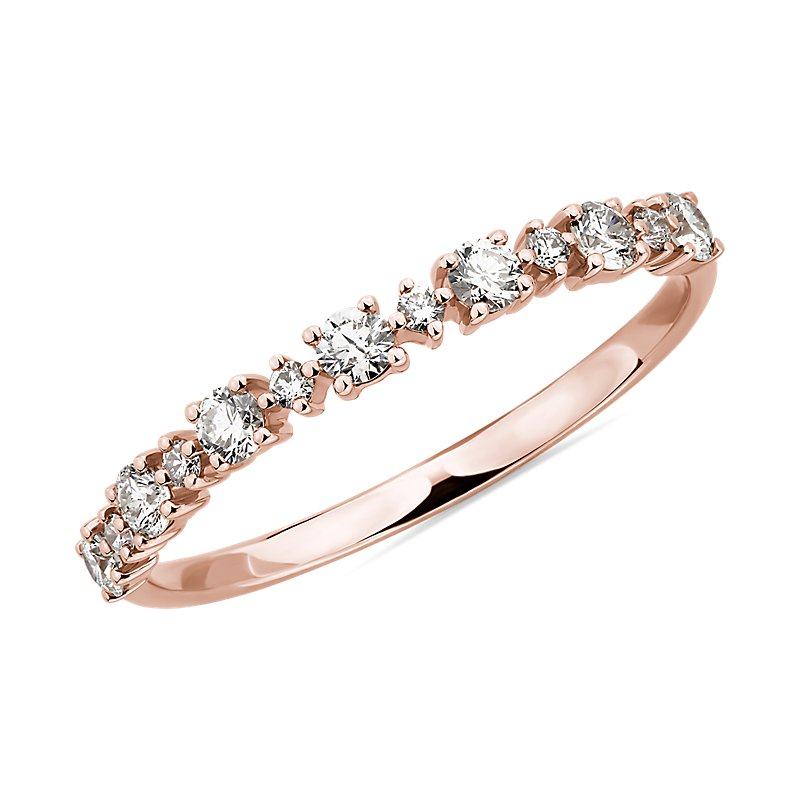 Alternating Size Diamond Fashion Ring in 14K Rose Gold (1/3 ct. t