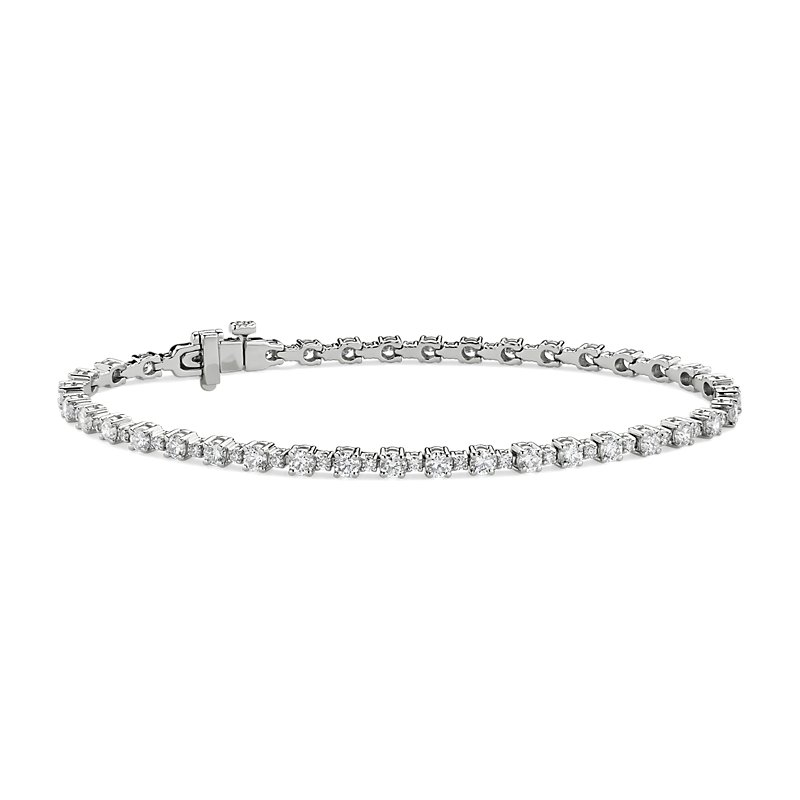 Alternating Size Diamond Tennis Bracelet in 14k White Gold (3 1/4