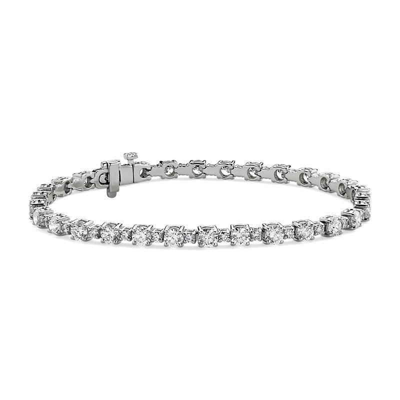 Alternating Size Diamond Tennis Bracelet in 14k White Gold (6 1/2