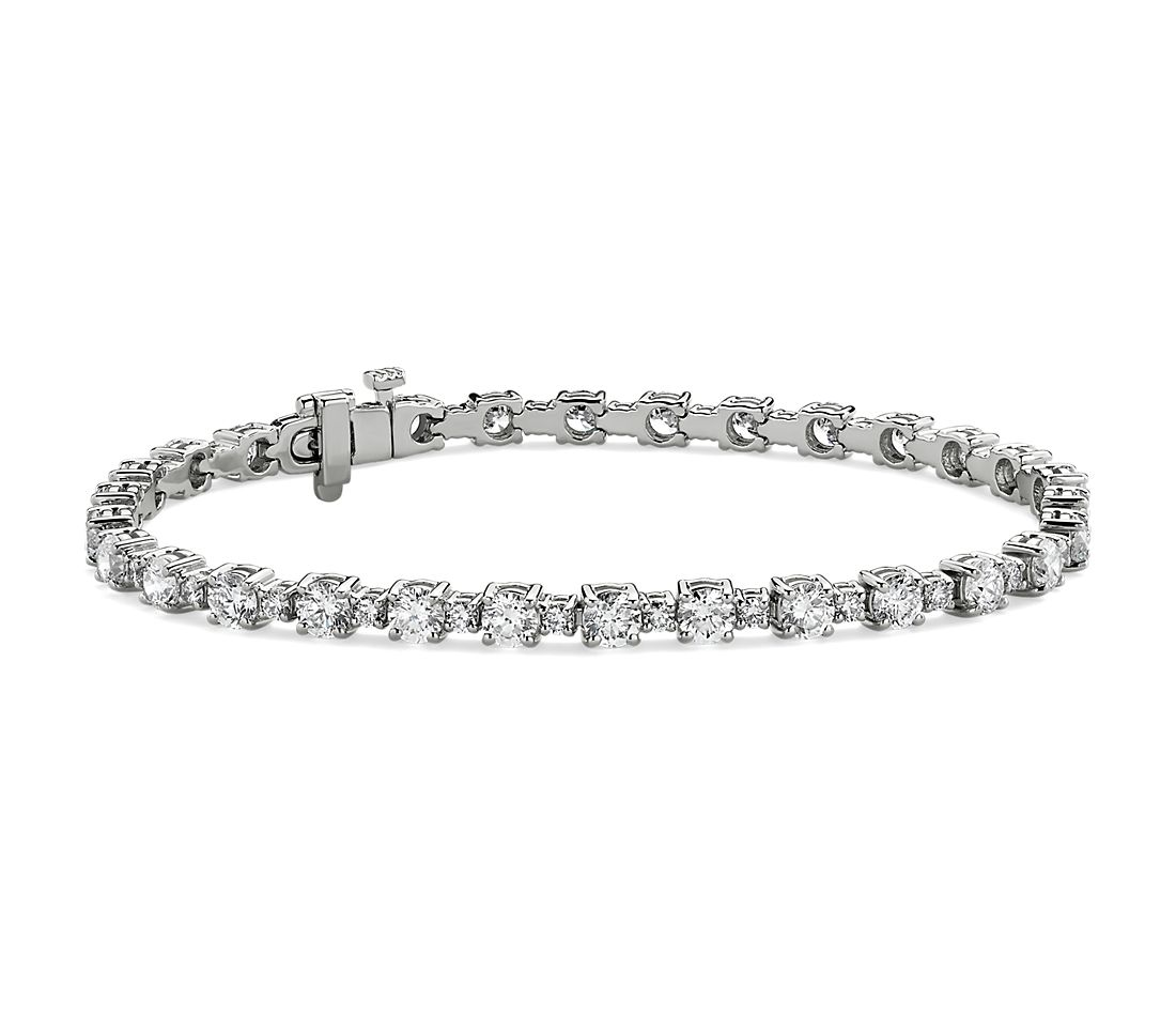 Alternating Size Diamond Tennis Bracelet in 14k White Gold (6 1/2 ct. tw.)