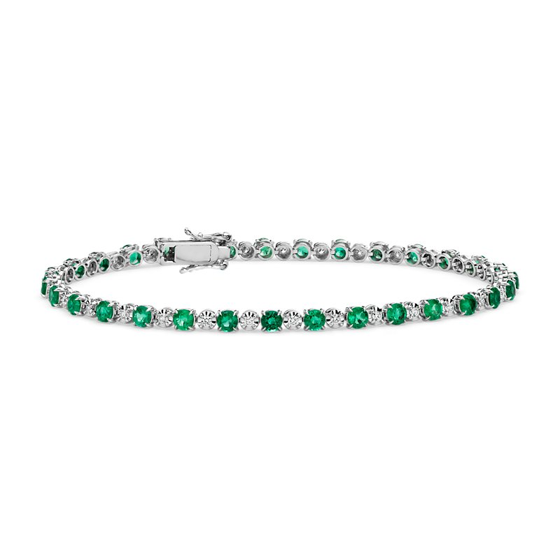 Alternating Size Emerald and Diamond Bracelet in 14k White Gold (