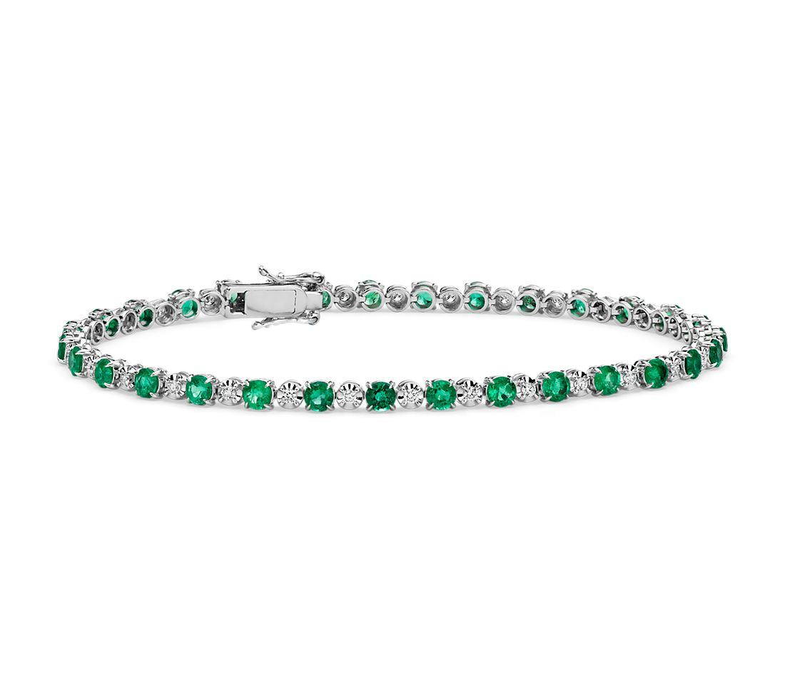 Alternating Size Emerald and Diamond Bracelet in 14k White Gold (3mm)