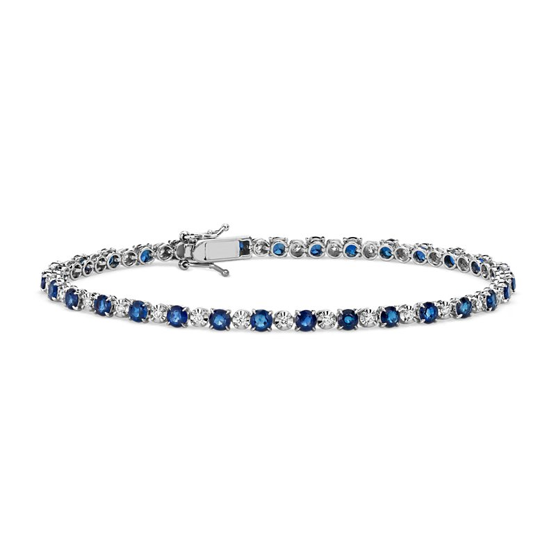 Alternating Size Sapphire and Diamond Bracelet in 14k White Gold