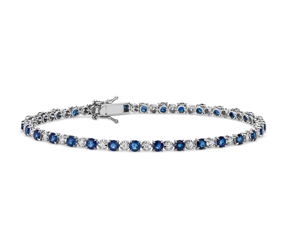 Alternating Size Sapphire and Diamond Bracelet in 14k White Gold (3mm)