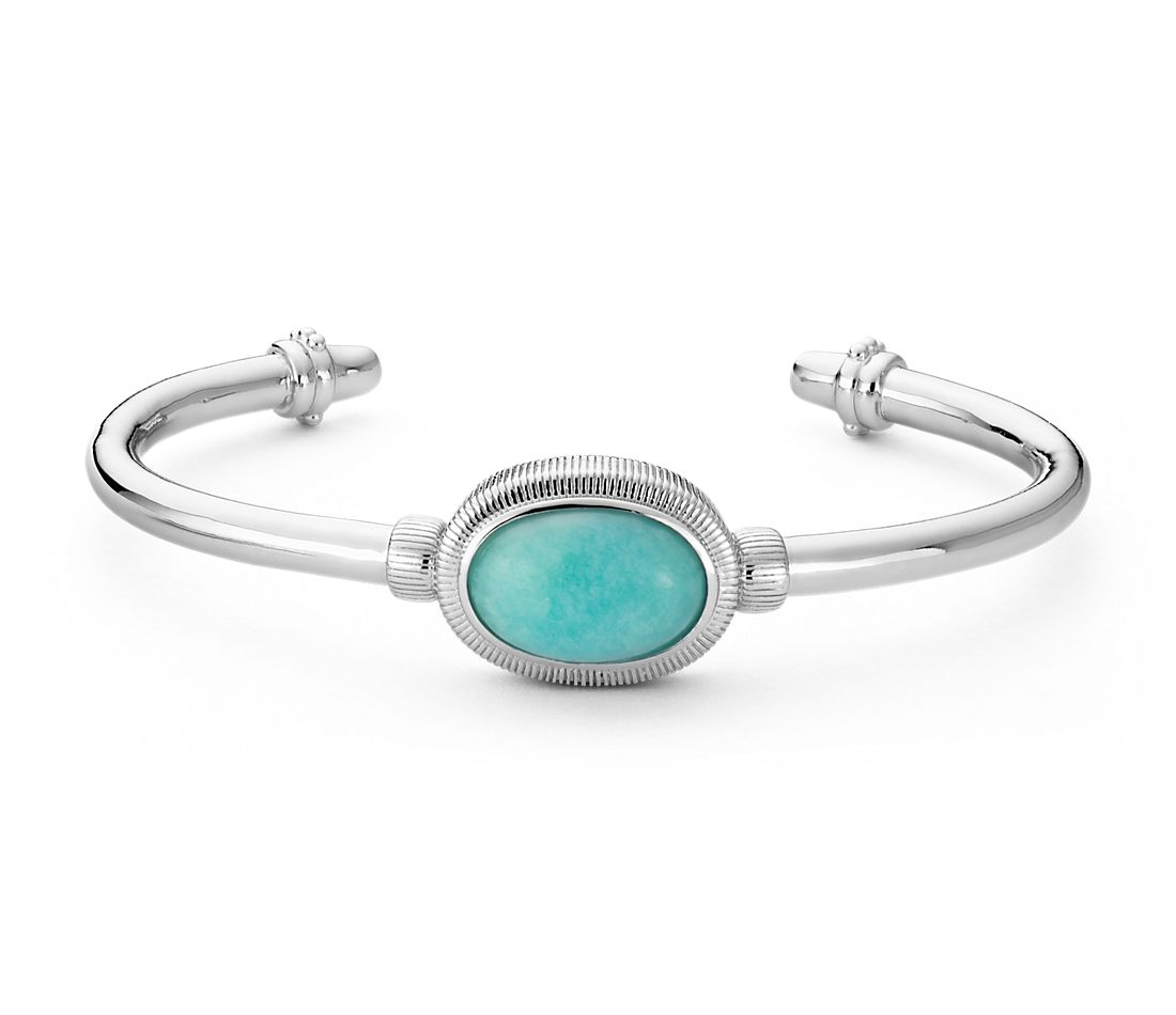 Bracelet Strie en amazonite Frances Gadbois en argent sterling (15 x 10 mm)