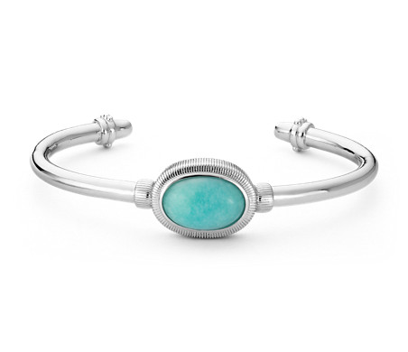 Amazonite Strie Bracelet in Sterling Silver (15x10mm)