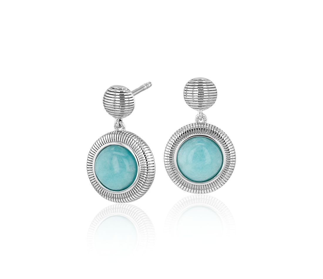 Frances Gadbois Amazonite Strie Drop Earrings in Sterling Silver (7mm)