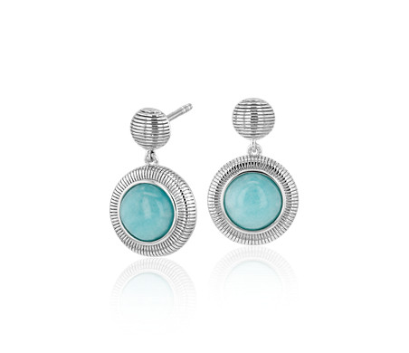 Amazonite Strie Aretes colgantes in plata de ley (7 mm)