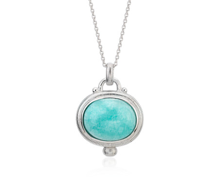 Amazonite Strie Pendant in Argent sterling (15 x 12 mm)